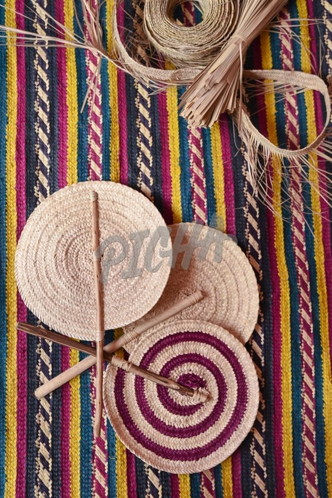 Woven hand held fans