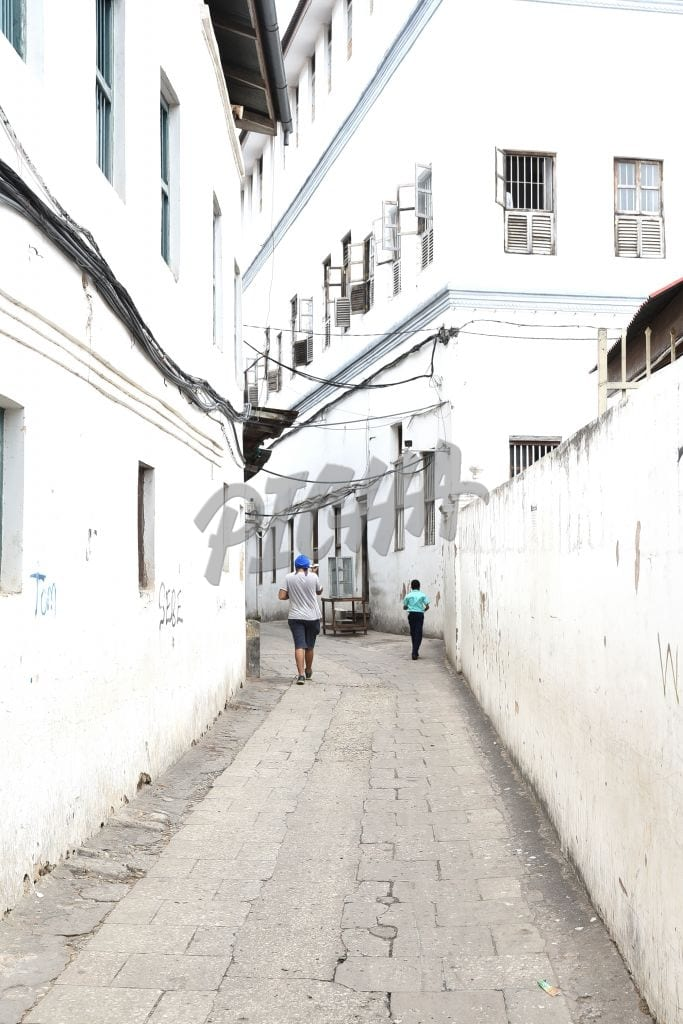 White washed alley