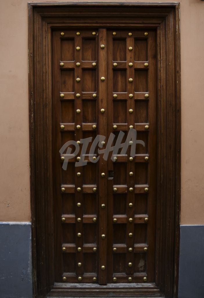 Solid studded wooden door