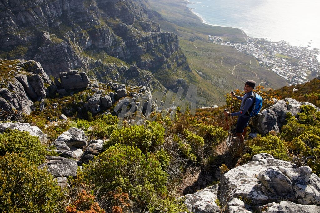 Admiring the view while hiking Table Mountain