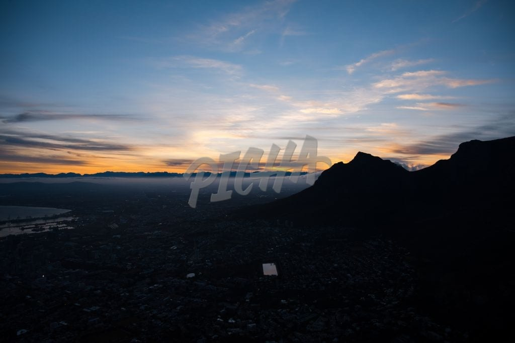 Aerial view of the city at dawn