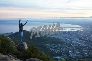 Man at the top of Lion's head