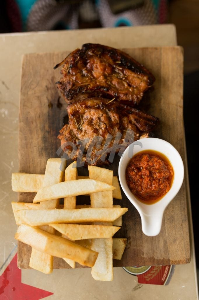 cassava fries and meat