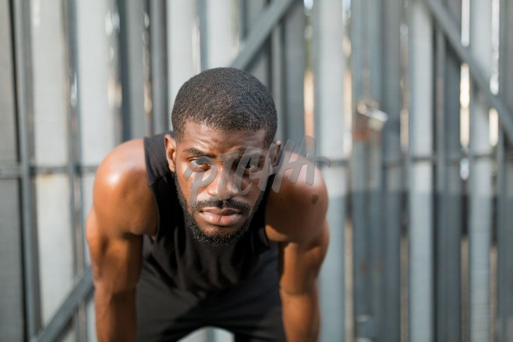 Man looking at the camera during workout