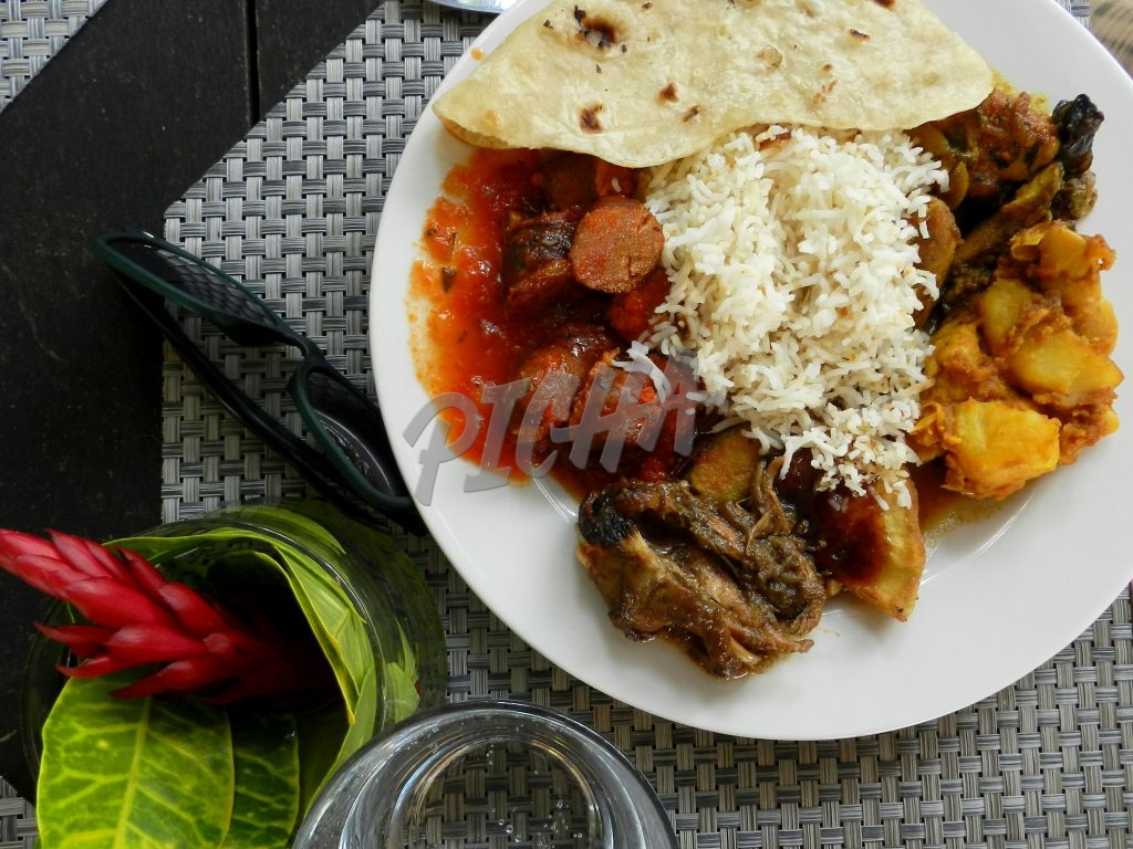 chapati, rice and curry on plate flatview