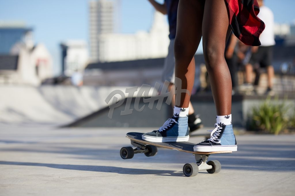 Riding on a skateboard