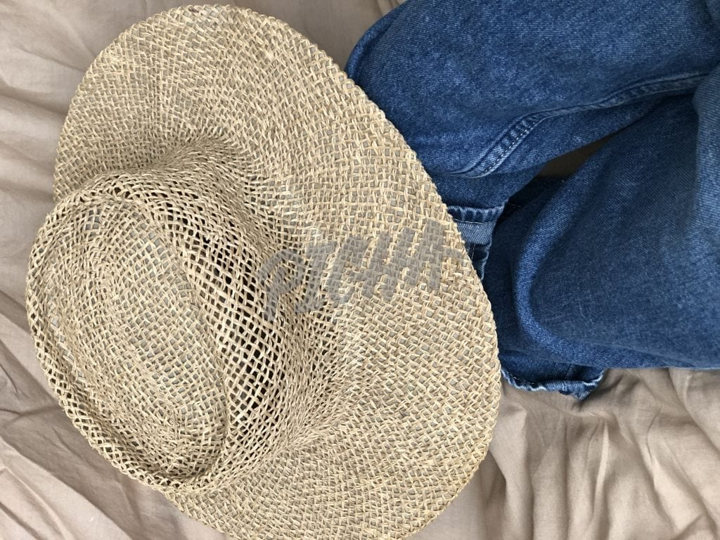 Straw hat and denim