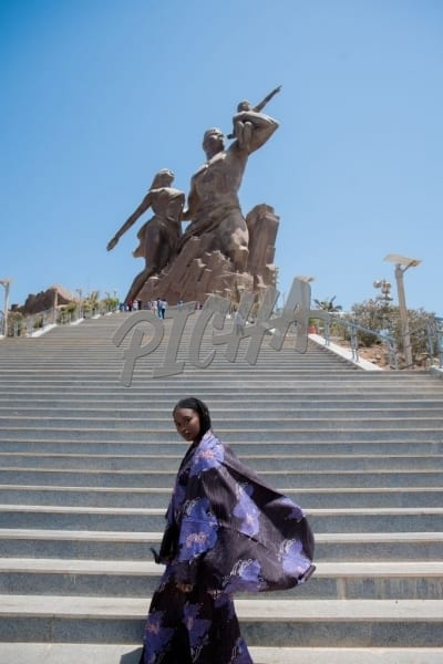 Woman visiting the African Renaissance monument