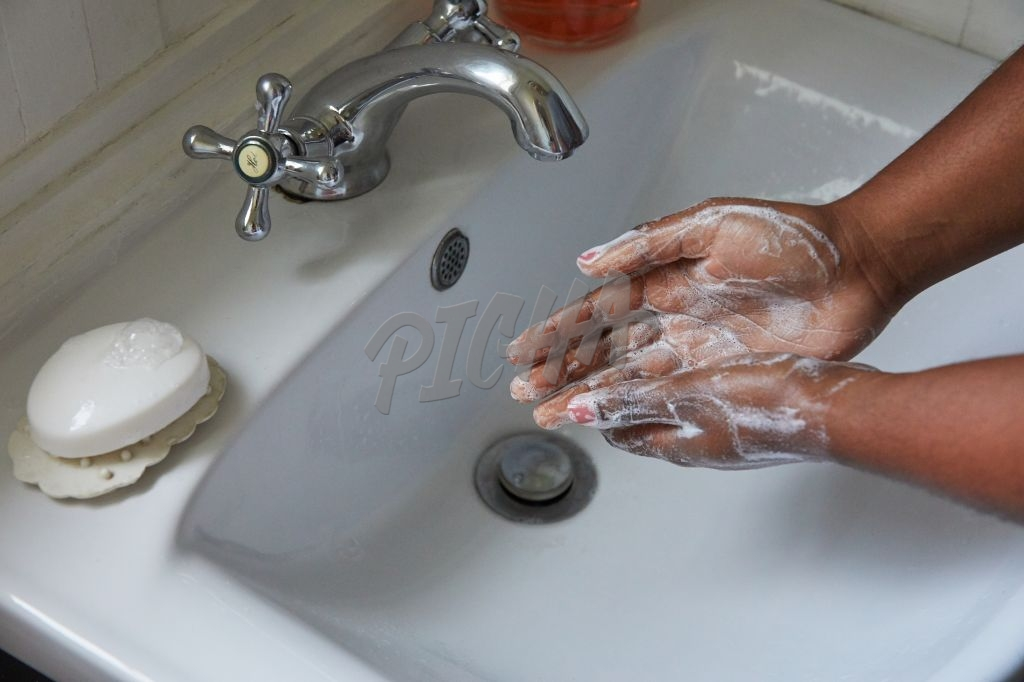 Using soap to wash hands