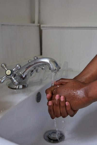 Close up of woman washing hands
