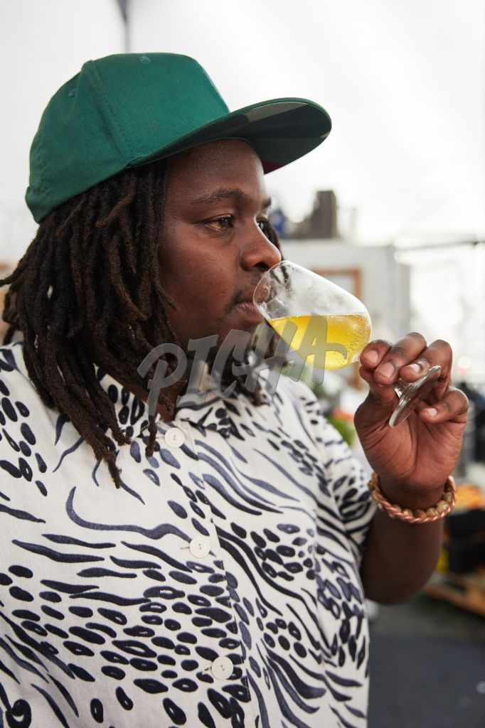 Man sipping drink