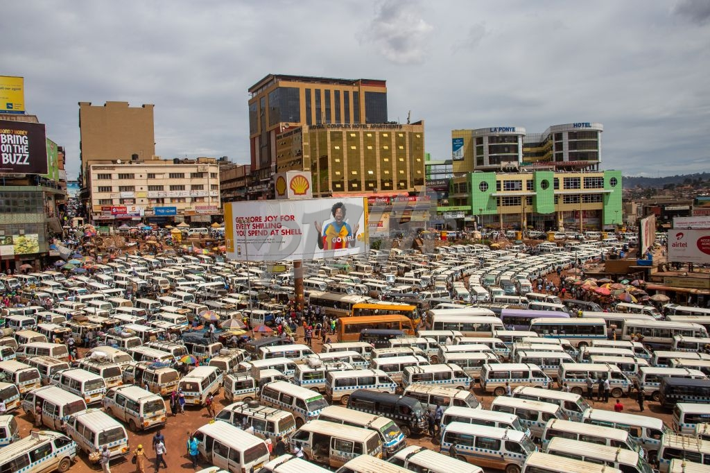 Packed bus park in Kampala
