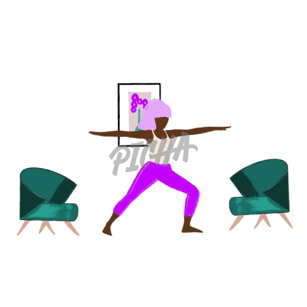 Exercising at home – illustration