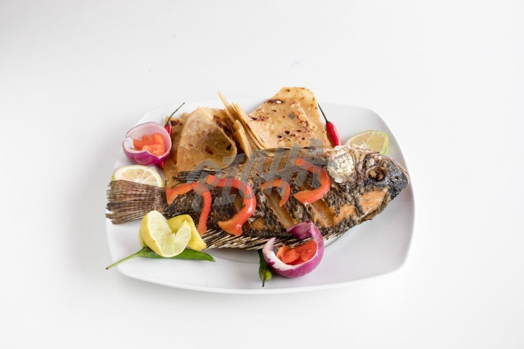 Grilled fish and chapati