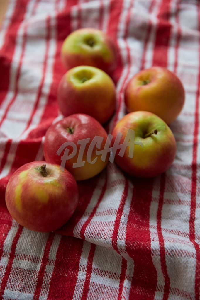 Apples on checkered dish cloth
