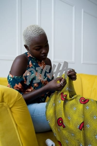 Seamstress on the couch