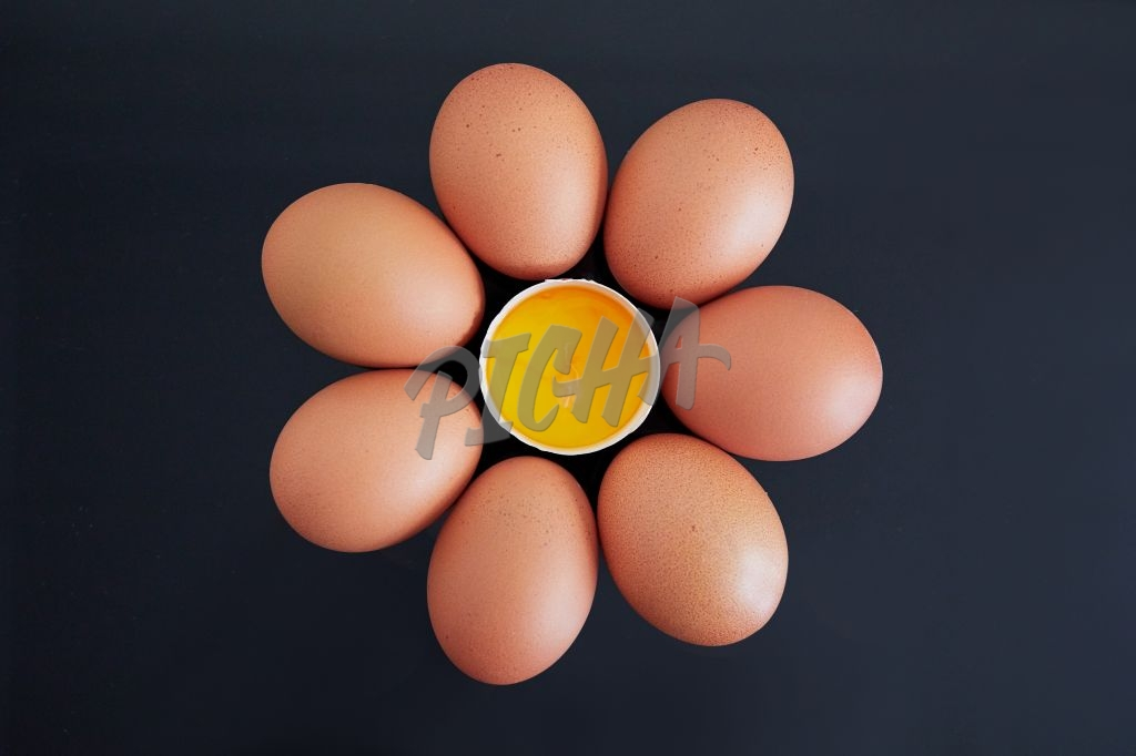 Eggs in a circle with yolk