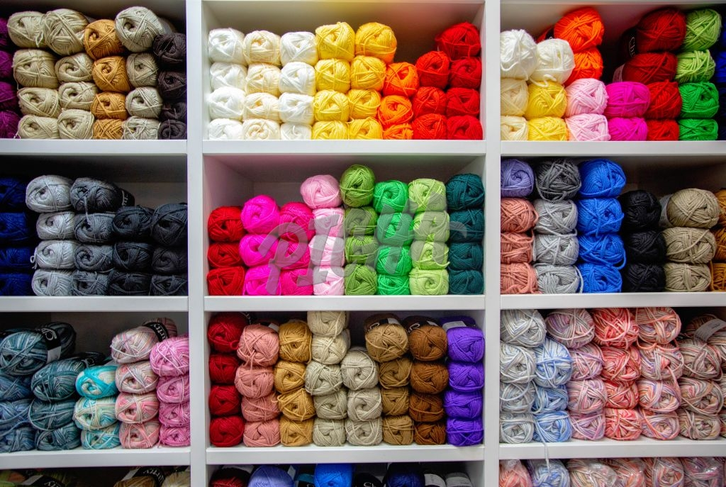 Knitting wool on a shelf