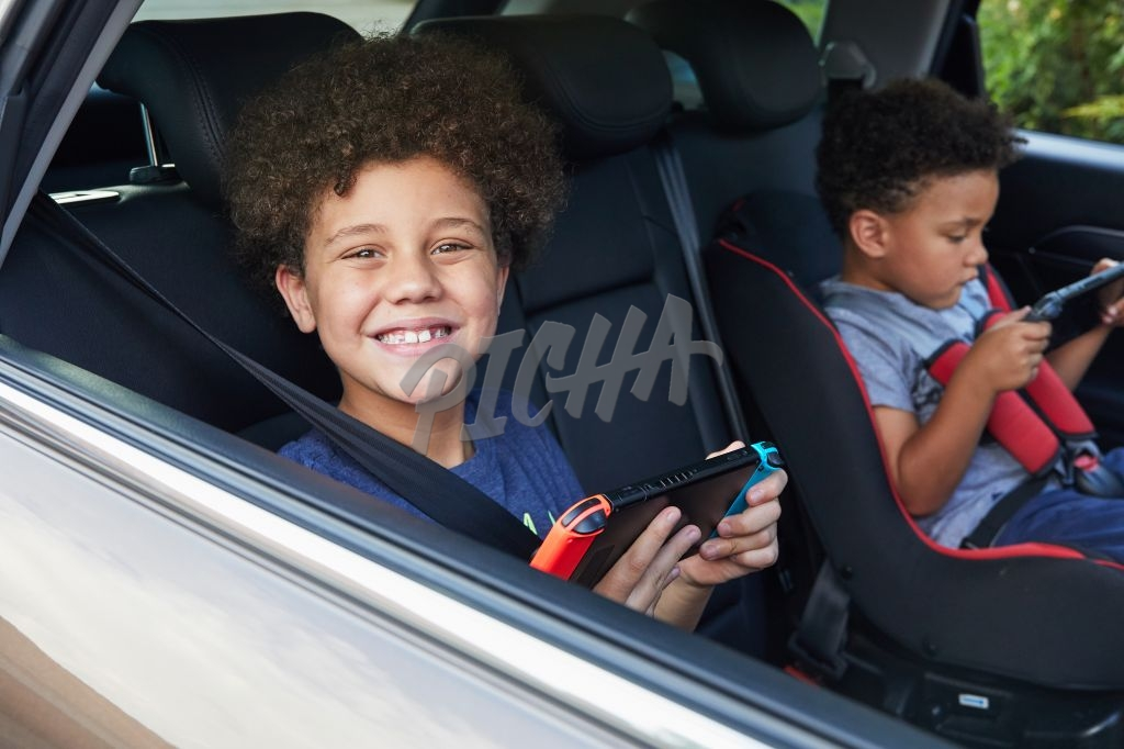 Boy gaming in the car
