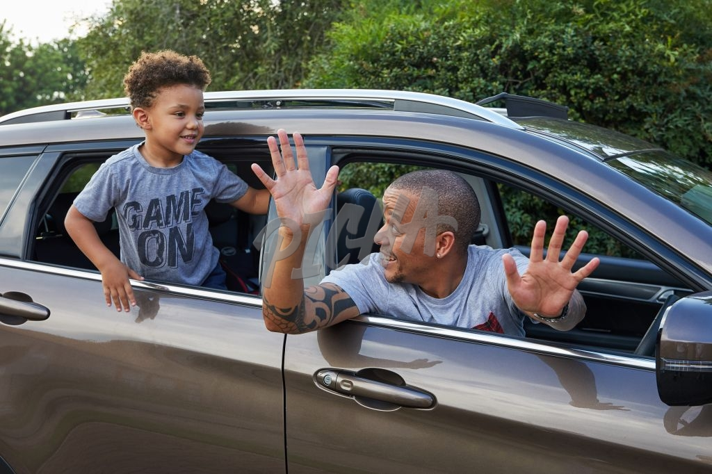 Father and son having fun in car