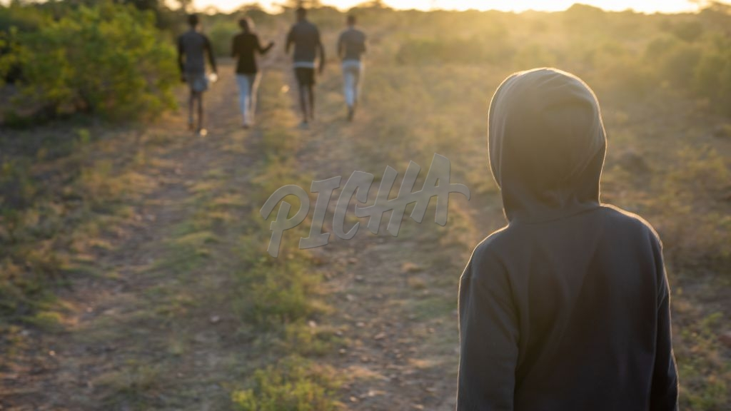 Rear view of group of friends walking during sunset
