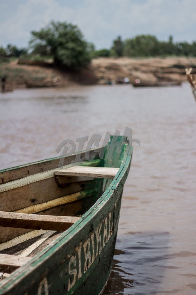Old boat in a river