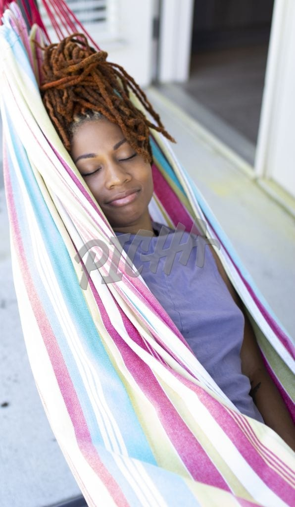 Asleep in a hammock