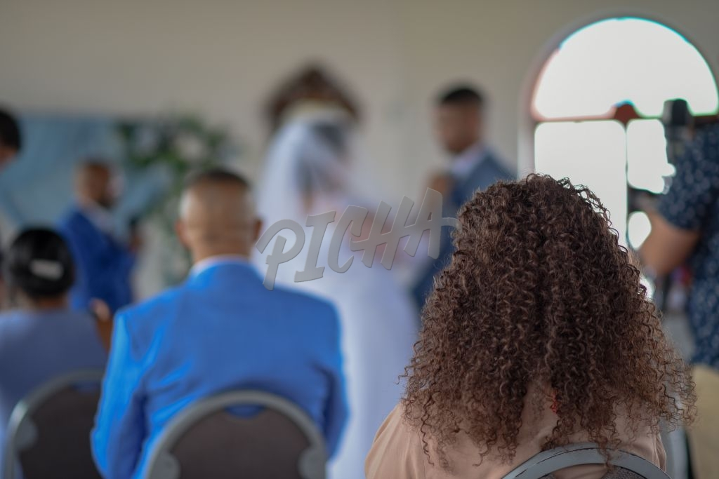 Rear view of people watching wedding ceremony