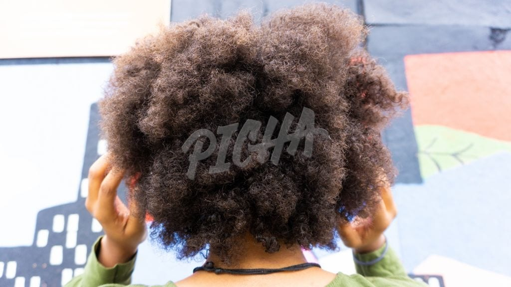 Afro styled hair