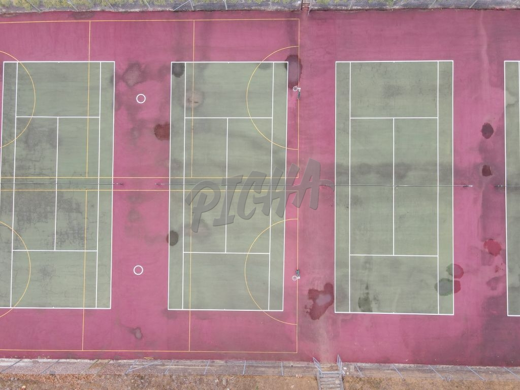 High angle view of tennis courts