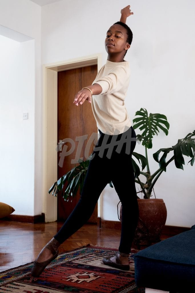 Dancer practicing at home