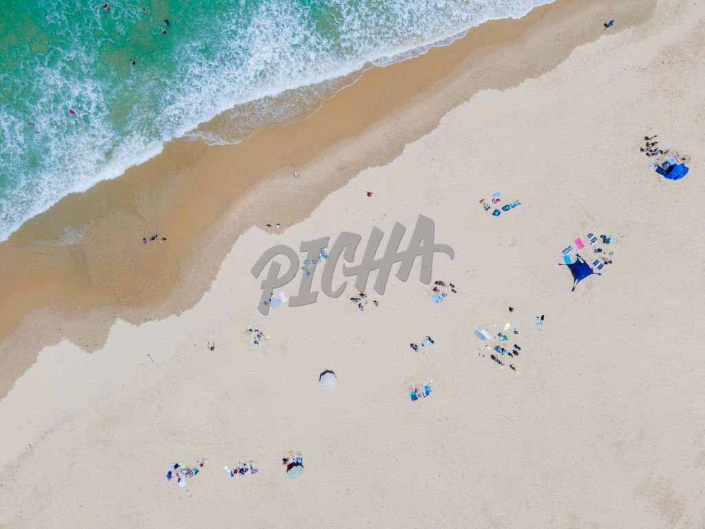 Aerial view of people sunbathing at the beach