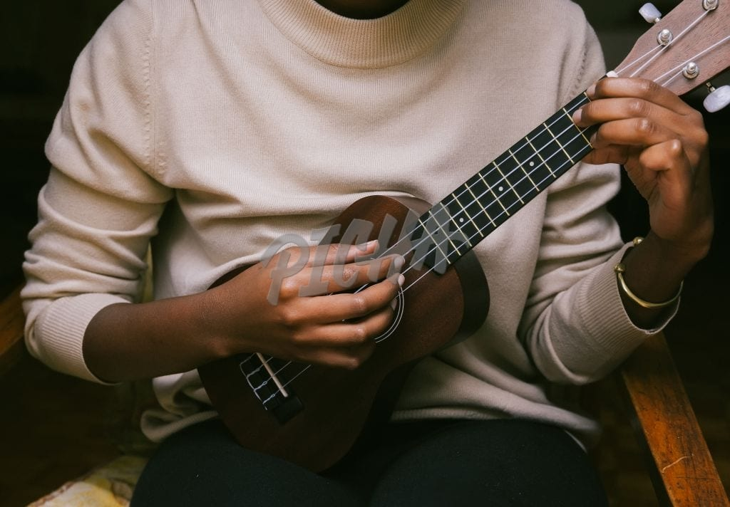 playing the ukulele