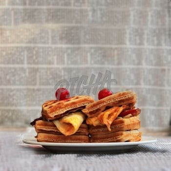 Plate of stacked waffles