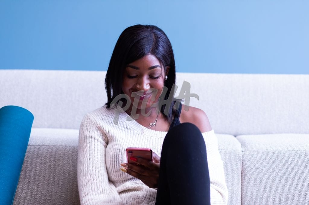 Texting by the couch