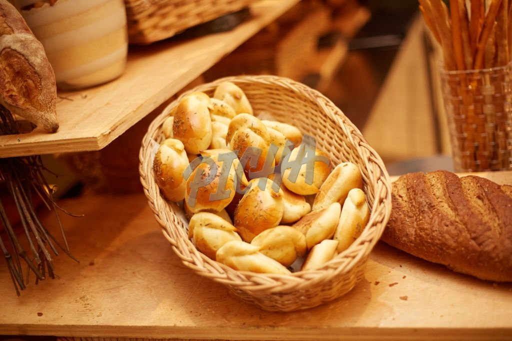 Loaves of fresh bread on a basket
