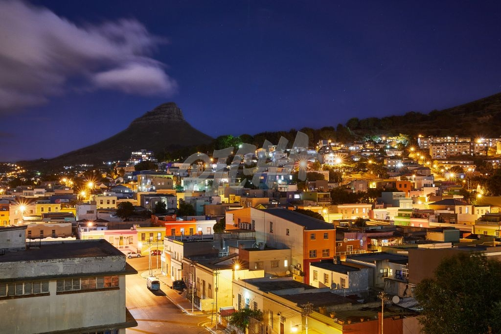 Beautiful nightscape of Lion's Head over Bo Kaap