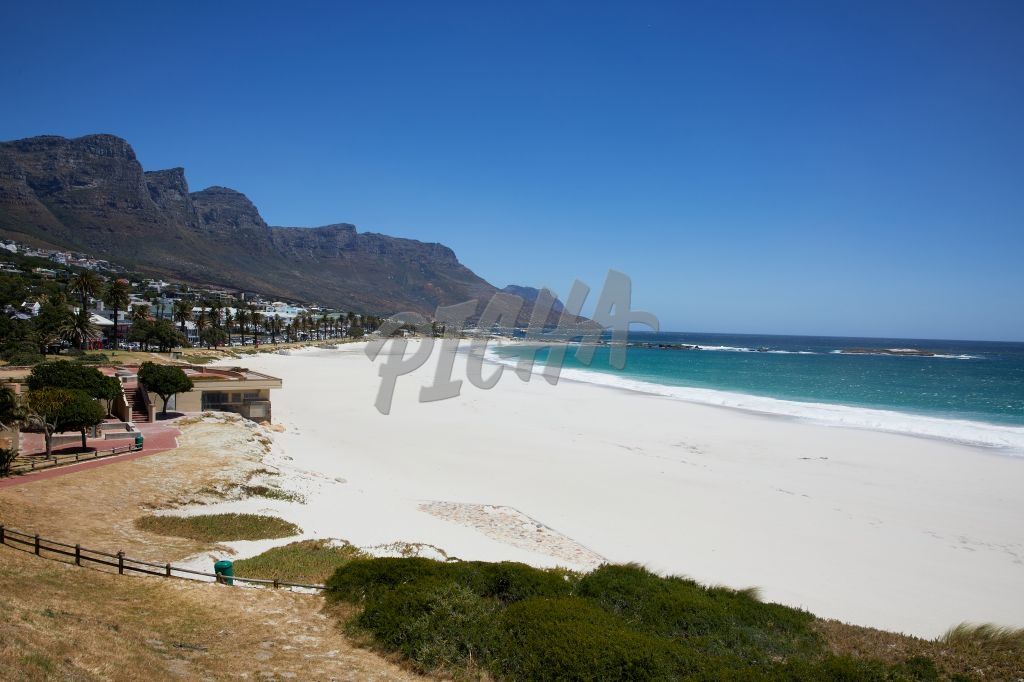 Empty beaches of Camps Bay during lockdown