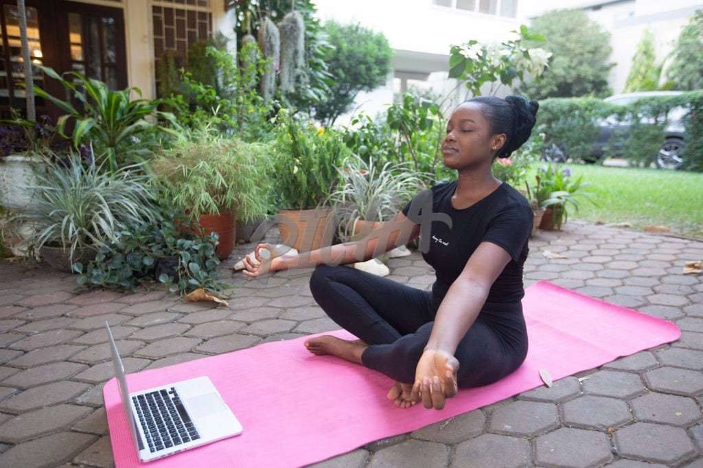 Yoga session at home