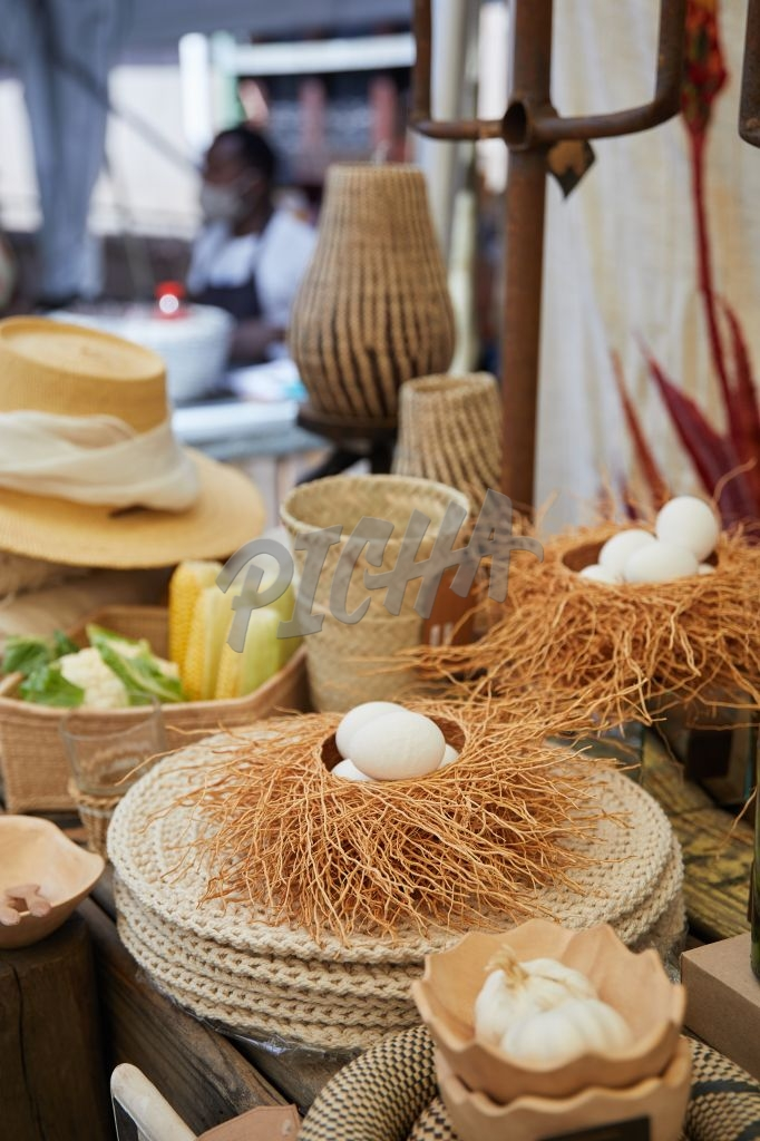 Natural items for sale on display at a market