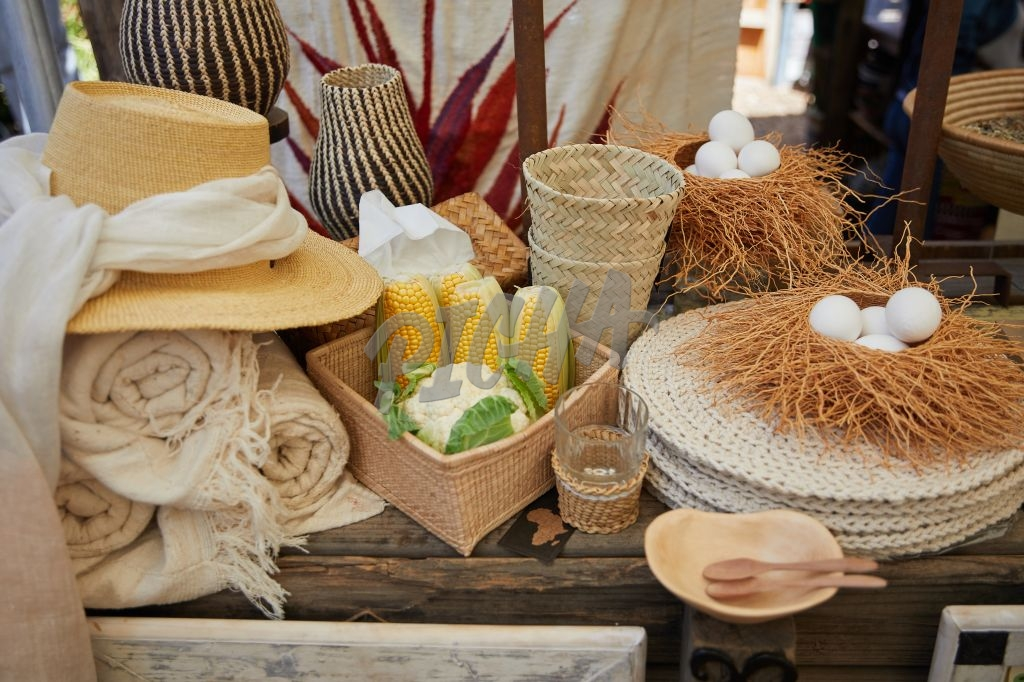 Assortment of natural items for sale on display at a market