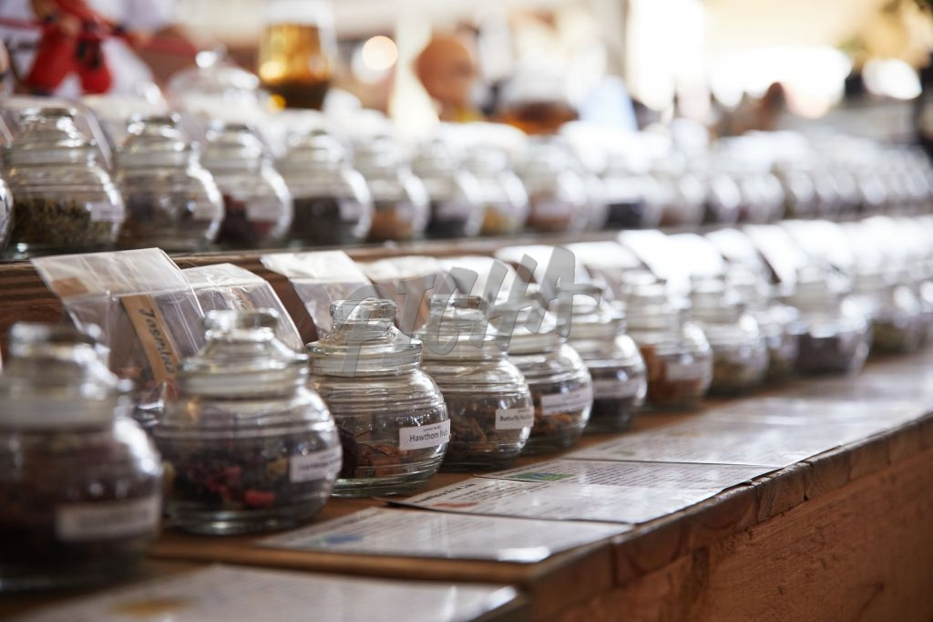 Loose tea for sale on display at a market