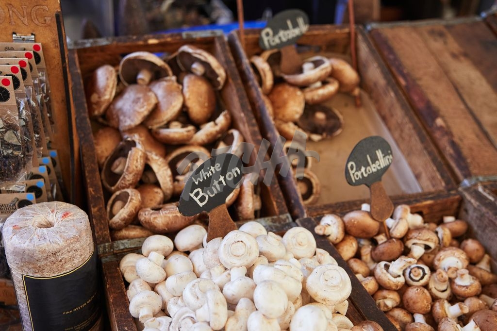 Assorted mushrooms on sale at a market