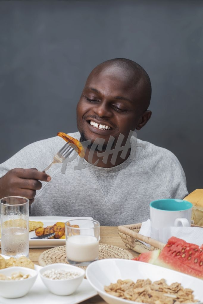 Man enjoying breakfast