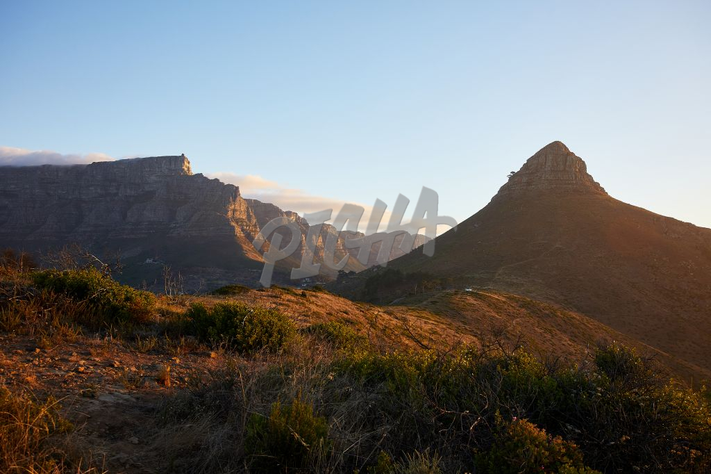 Lanscape of Table Mountain and Lion's Head at sunset