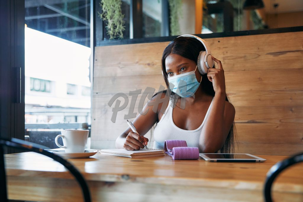 Student working at a coffee shop