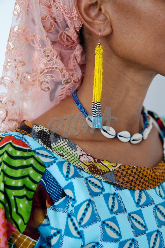 Close up of beaded accessories