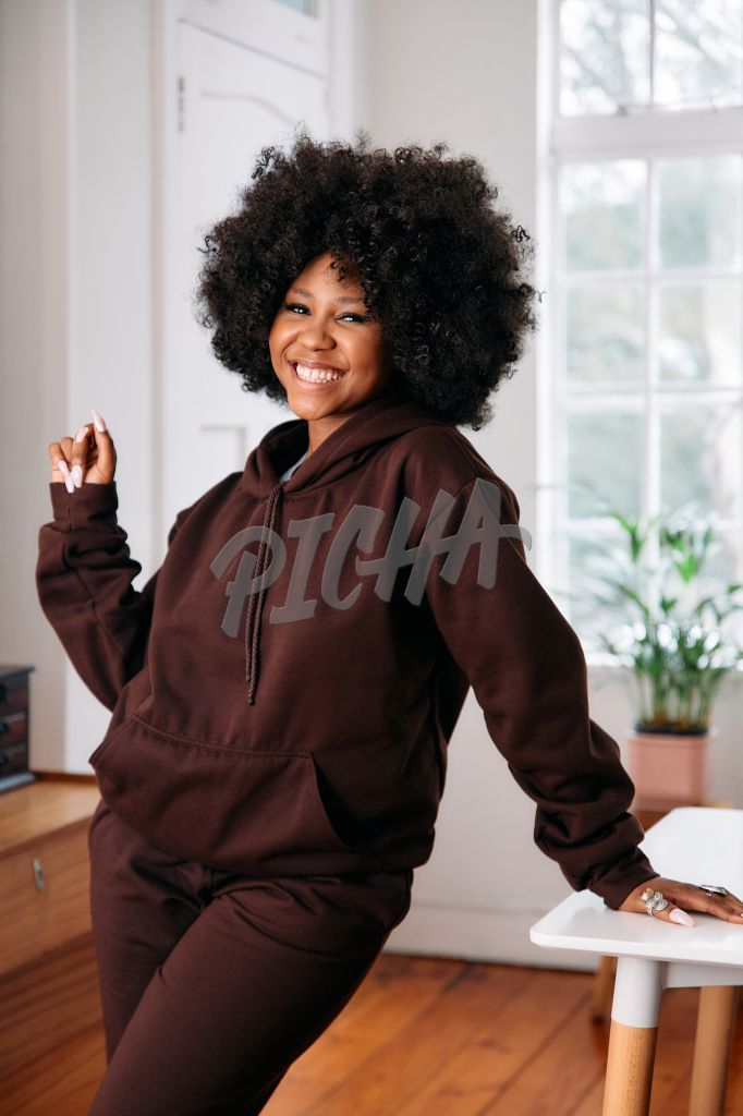 Portrait of a happy woman with an afro
