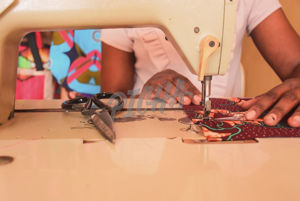 hands on sewing machine