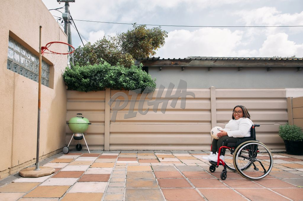 Young Woman with a disability playing a sport